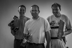 Foto: Steffen Jensen | Tre af de langelandske håndværkere der gjorde asylcentret klart til at modtage flygtninge fra hele verden.